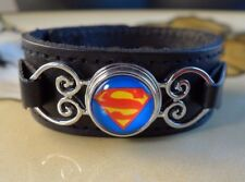 SUPERMAN SNAP BUTTON on genuine black leather bracelet Gifts for women