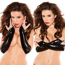 Women Wet Look Sexy Black Elastic Shiny Mid-Upper Arm Length Gloves Fingerless