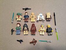 LEGO lot of 10 Star Wars Good Guy Minifigs Yoda Luke Leia Han R2-D2 Chewie E377