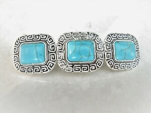 Turquoise blue stone metal native hair clip clamp barrette