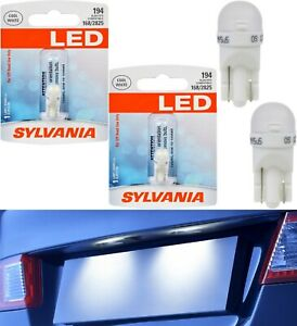 Sylvania LED Light 194 T10 White 6000K Two Bulbs License Plate Tag Upgrade Fit