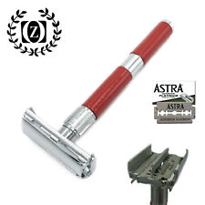 ZEVA LONG HANDLE DE SAFETY RAZOR BUTTERFLY OPENING FOR MEN + 5 ASTRA BLADES RED