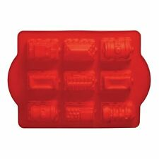 Cake Mould, 9 Trains, Red Silicone