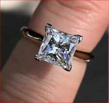 2.86 Ct Princess Cut Moissanite Diamond Solitaire Engagement Ring 14K White Gold