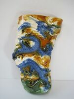 Vintage  Hand Painted 3D Wall Pocket Planter Home Decor Asian Dragon Beautiful