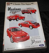 """Mustang Classic Tin Sign, 30Th Anniversary, 12 1/2""""x16"""" Made In U.S.A., Good!"""
