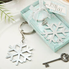 Silver Snowflake Keychain Winter Themed Bridal Shower Wedding Favors
