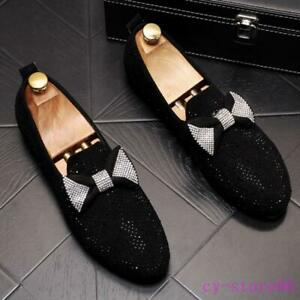2020 Mens Rhinestones Party Dress Shoes Bowknot Slip On Flat Loafers Suede Dress