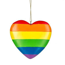 "RAINBOW HEART LGBT Christmas Tree Ornament, 2.75"" Tall, by Midwest CBK"