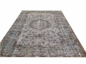 "9'1"" X 5'7"" Turkish Vintage  gray brown overdyed  carpet rug teppich tapis"