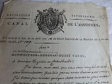 CANAL DE L'ESSONNE - MANUSCRIT de GUYENOT DE CHATEAUBOURG à TOUPELIN - 1809