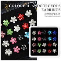 Fashion Women Rhinestone Crystal Flower Earrings Set Ear Stud Jewelry 10 Pairs