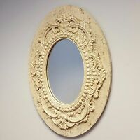 Distressed Cream Beige Wall Hanging Mirror Antique Shabby Chic Vintage Style