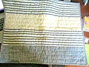 New! POTTERY BARN KIDS STRIPED GRAY quilted Sham pillow Standard Size Cotton