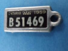 WAR AMPS CANADA LICENSE PLATE ONTARIO1959 B51469 NICE TAG KEY RING COLLECTOR