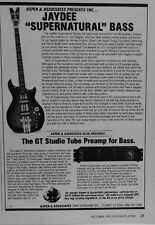 1985 Jaydee Supernatural bass guitar and GT Tube Preamp for bass print Ad