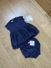 polo ralph lauren Baby Girl Pleated Dress Navy 0/3 Months Brand New