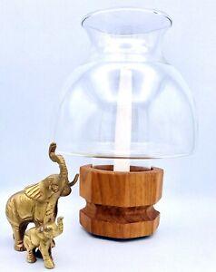 Selandia Mid Century Danish Modern Teak Wood Glass Hurricane Lamp Candle Holder