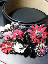 Womens Black House White Market Belt Leather Flower Embellished Size M