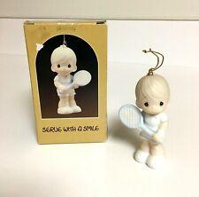 Precious Moments 1986 Serve with a Smile Tennis Boy Figurine Ornament in Box