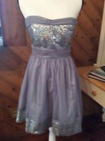 Delias - Gray Sheer mesh Silver Sequin Full Strapless lined DRESS 5 / 6