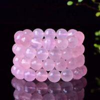 Natural Pink Rose Quartz Crystal Woman Round Beads Reiki Bracelet 14mm AAAA