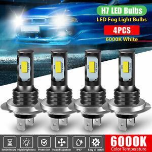 4pcs H7 + H7 Combo LED Headlight Kit Bulbs High Low Beam Fog light White 6000K