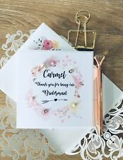 Thank You Bridesmaid Maid Of Honour Personalised Pink Flowers Sparkly Card