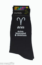 Aries Star Sign with meanings Black Mens Socks March & April Birthdays