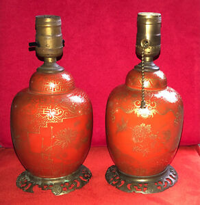 PAIR VERY OLD ORANGE CORAL PORCELAIN CHINESE GINGER JAR LAMPS ON BRASS BASES