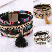 Women Leather Bracelet Rhinestone Tassel Bangle Charm Wristband Fashion New