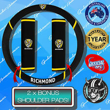 RICHMOND TIGERS CAR STEERING WHEEL COVER + SEAT BELT COVERS, OFFICIALS AFL!