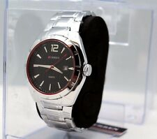 Mens Water Proof Watch Silver w Black Dial Curren Stainless Silver Fonts Red Bez