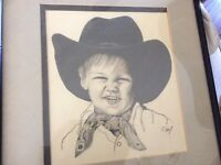 Vtg Cowboy hat Kid Signed art Pencil Painting Art Original in frame J. Skuf