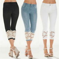 Women High Waist Stretch Denim Jeans Slim With Lace Capri Pant Plus Size Trouser