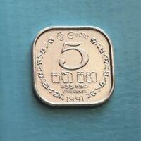 5 CENT SRI LANKA COIN UNCIRCULATED