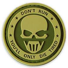 3d PVC Don't Run Military Tactical Army Airsoft Sniper Morale Patch MTP Green