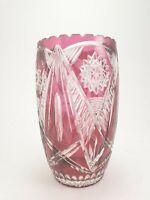 Vintage Bohemian Crystal Cut Cranberry Pink Vase 1950's