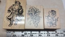 Lot of 3 Holiday Rubber stamps Father Christmas  Candy cane Drummer
