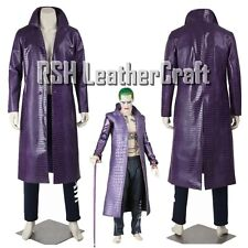 Joker Suicide Squad Purple Faux Leather Coat Halloween Costume (Fast Shipping)