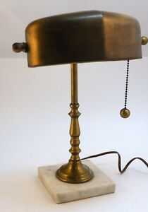 Antique / Vintage Banker's, Library, Student, Desk Lamp. Brass and Marble. 13x10
