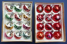 2 Boxes 24 Vintage Mercury Glass Christmas Tree Baubles Decorations