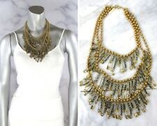 MARC JACOBS Gold Beaded Tiered SAFETY PIN Punk Swarovski Crystal Bib Necklace