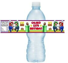 12 Super Mario Brothers Birthday Party Water Bottle Wrappers Stickers Label Bros
