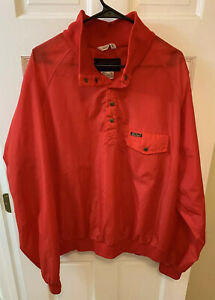Eddie Bauer Men XL Nylon T Snap Pullover Windbreaker 1/4 Red Vintage 90s 1990s