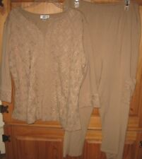 Coldwater Creek Pull On Capri Pants Top Tunic Set Suit Stretch Beige  X Large