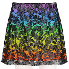 Christopher Kane Rainbow Skirt with Black Sequin Sheer Mesh Overlay UK10 IT42