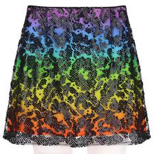 Christopher Kane Black Sequin Sheer Mesh Overlay Rainbow Skirt UK12 IT44