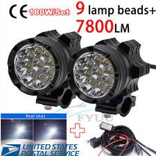 Pair 180W 6500K 7800LM Super Bright 9 Cree LED Headlights DRL Bulbs&Wire Harness