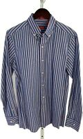 Izod Mens Small SLIM FIT Blue Striped Long Sleeve Button Front Shirt D-60